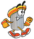 0025-0803-0815-5664_clip_art_graphic_of_a_metal_trash_can_cartoon_character_speed_walking_or_jogging